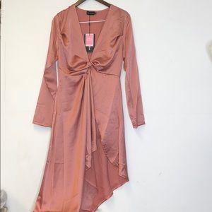 PrettyLittleThing Asymmetrical Long Sleeve Dress